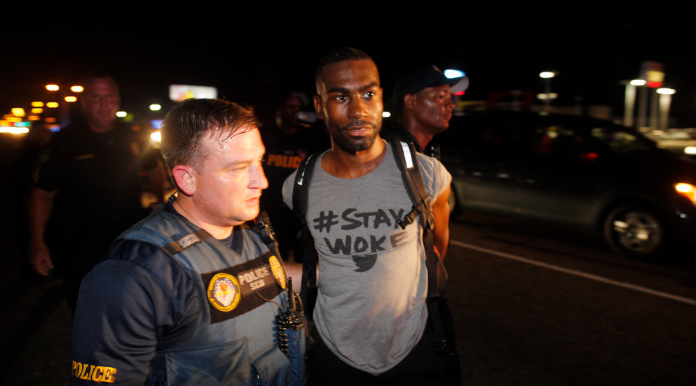Deray Mckesson - On August 16, 2015, the Japan Times covered a Black Lives Matter protest in Baton Rouge where the main photo they used was Deray McKesson wearing a shirt that said #StayWoke. Twitter CEO, Jack Dorsey later wore that same shirt during a conference where he interviewed Deray McKesson, putting eyeballs on a message in a space that's usually reserved for talks of apps, phone taps and optimization.