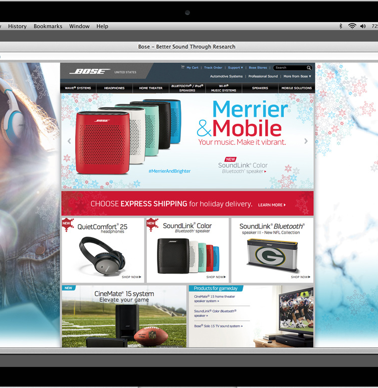 Bose   Wallpaper concepts and web and shipping ads for their 2014 holiday branding.