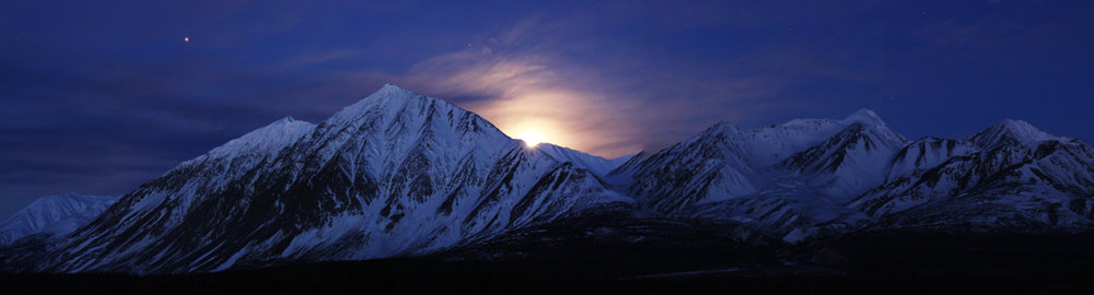Alsek Valley Moonset - St. Elias Mountains, Yukon, Canada