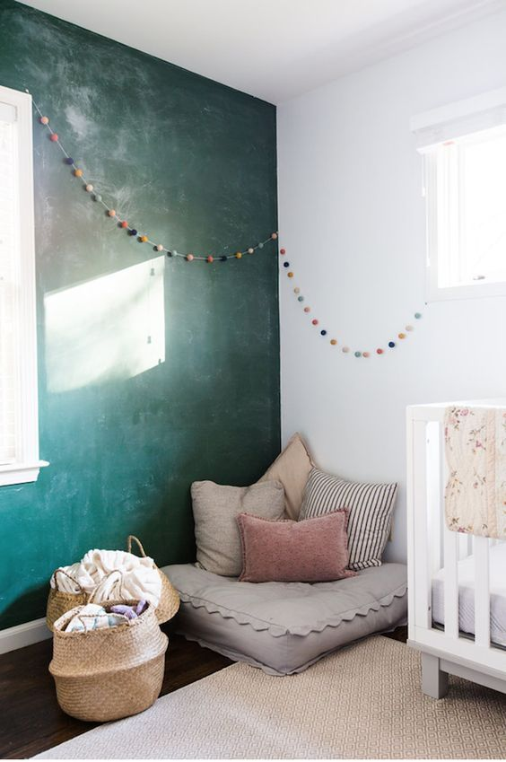 cosy corner   cozy corner   reading space   chalkboard wall   calm rooms   children's rooms   scandi style   ourstorytime.co.uk