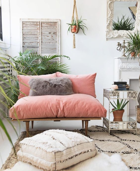 cosy corner   cozy corner   calm room   cosy nook   scandi style   boho style   pink velvet sofa   moroccan pouf   moroccan rugs  ourstorytime.co.uk