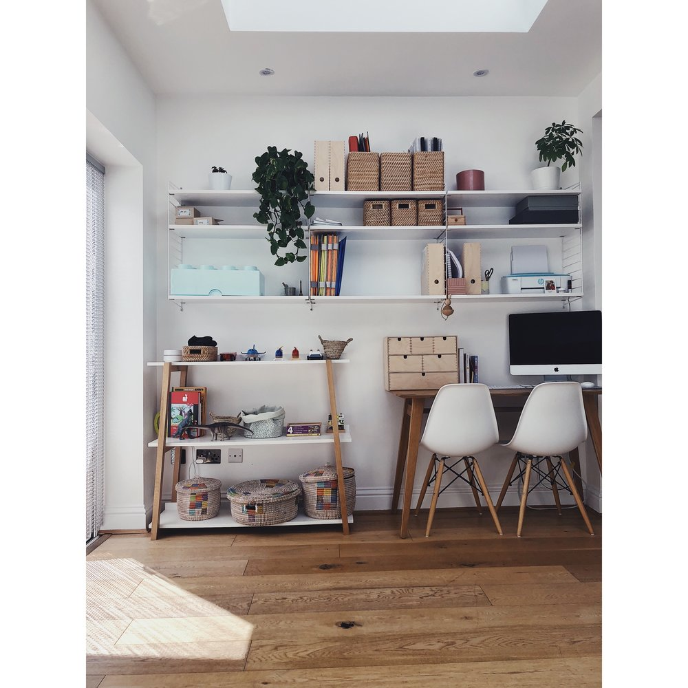 workspace minimal interiors string shelves wooden floors simple interiors open plan living meaningful home scandinavian style scandi style interiors ourstorytime.co.uk