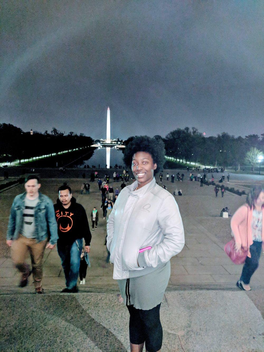 Aysha Grey, Grand Prize Winner 2017-2018, enjoying the DC Night Monument tour.