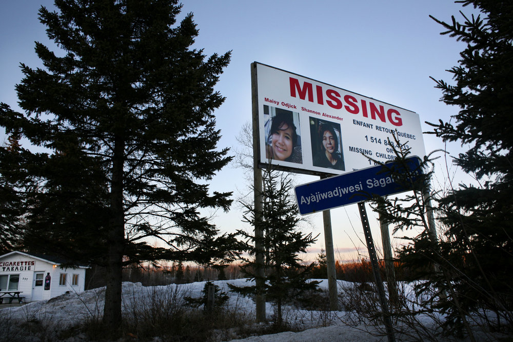 Indigenous teenagers Maisy Odjick and Shannon Alexander disappeared from Maniwaki in September 2008. Since 1980, at least 1,073 indigenous Canadian women have been murdered and more than 100 have gone missing, according to government statistics. (DEVON HAYNIE FOR USN&WR)