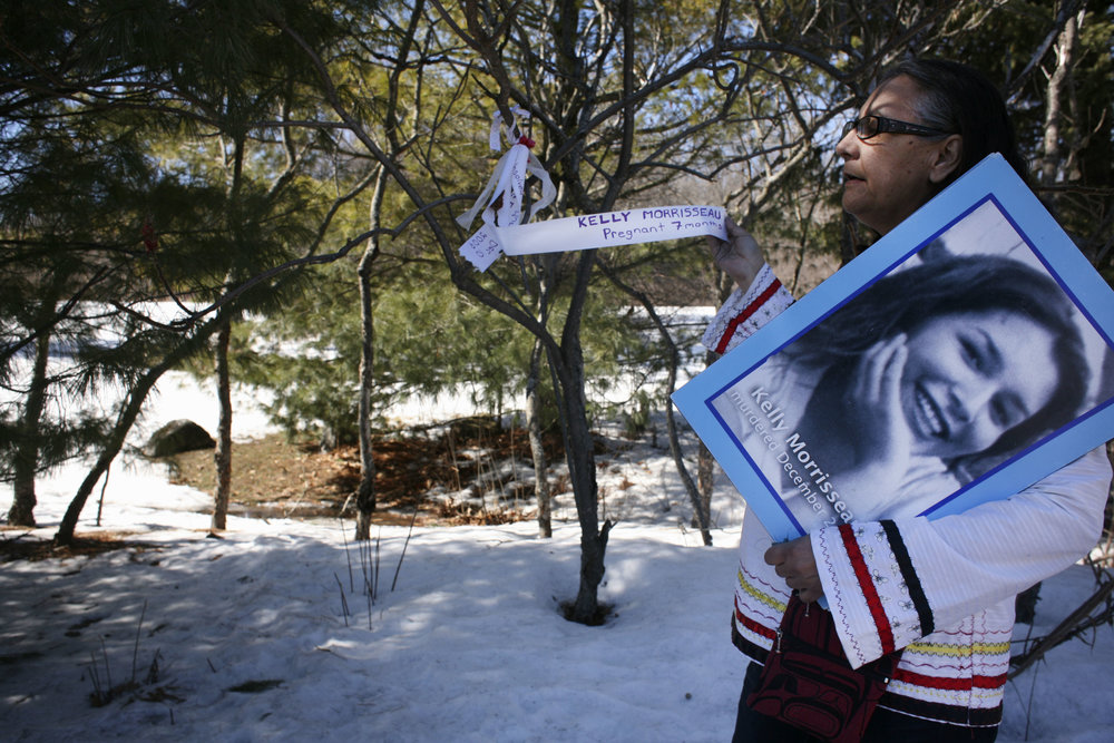 Bridget Tolley is founder of Families of Sisters in Spirit, a grassroots organization that advocates for murdered and missing indigenous women and their families. Here she stands at the site where 27-year-old Kelly Morrisseau was found nearly naked and stabbed more than a dozen times in a parking lot in the city of Gatineau in 2006. She was seven months pregnant when she and her unborn baby were killed. Her case has not been solved.(DEVON HAYNIE FOR USN&WR)