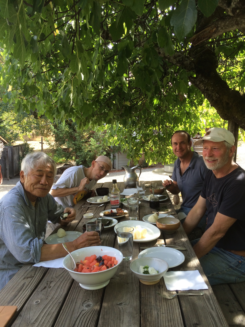 Lunch under the fig tree, Shiro, Aki, Kelly Farley and Richard Carter.