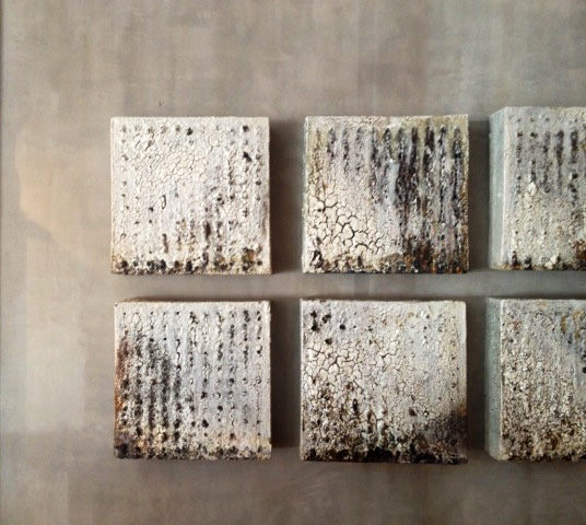 8 tile Grid 2014, Richard Carter 18x18x5d wood fired stoneware clay, slip, steel