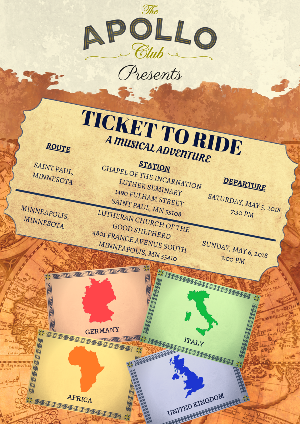 "Our spring concerts, ""Ticket to ride: a musical adventure"" will be on May 5th and 6th, 2018. See the list of our upcoming concerts  HERE  for more information."
