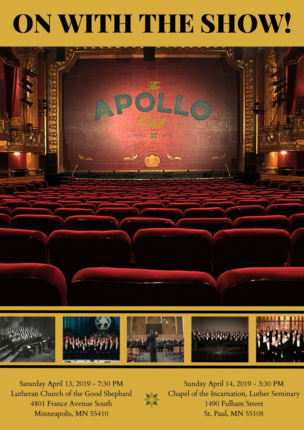 "Apollo's Spring 2019 concert performances were on April 13 and 14. - Thanks for coming!Come hear us this summer at the opportunities noted on this web page under ""Upcoming Fun Events,"" and save your date for attending our 2019 Holiday Concert, (December 14th and 15th, 2019)."