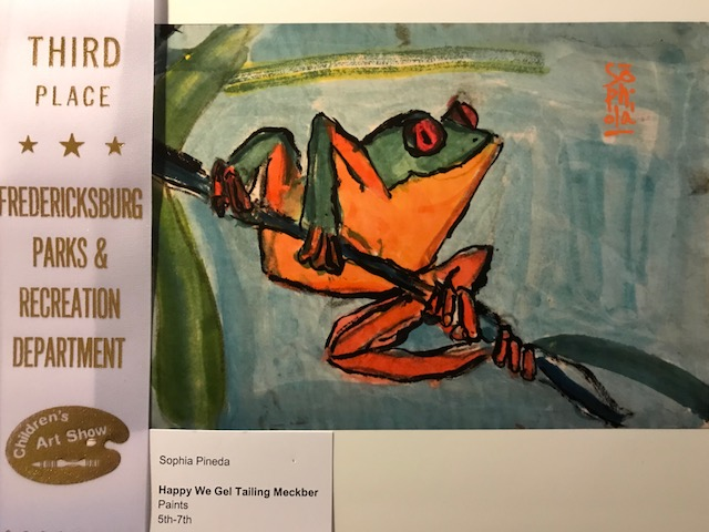Sophia getting 3rd place recognition in the 5th-7th grade category in the recent Fredericksburg Park and Recreation's Children's Art Show