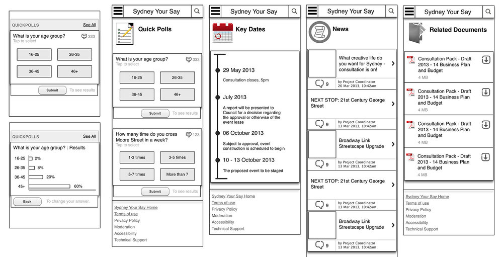 EHQ Mobile Surveys Wireframes