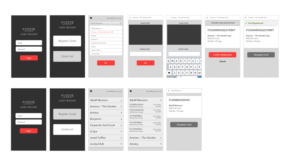 Fuzzie Card Tracker App Wireframes
