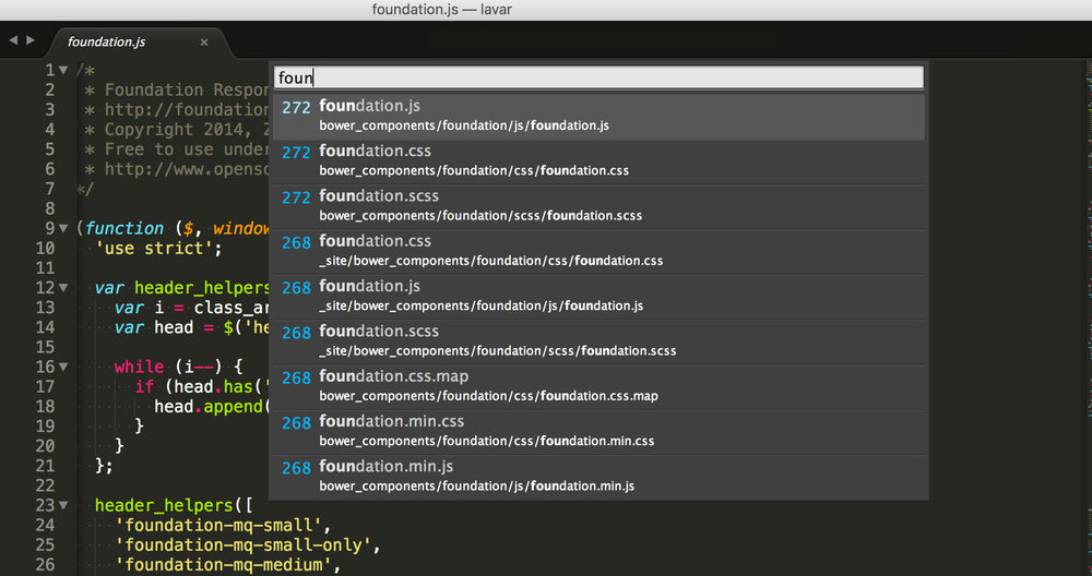 Sublime Text's ⌘+T Interface Screenshot