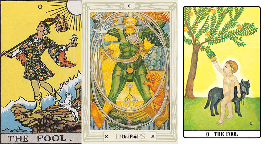 The Fool cards from different tarot decks. (Source: Google)