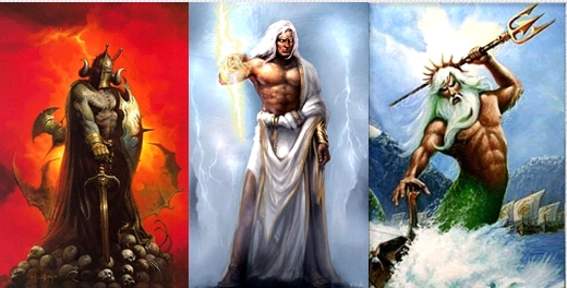 From left to right: Hades (Pluto); Zeus (Jupiter); Poseidon (Neptune) all have a role to play in this Eclipse!
