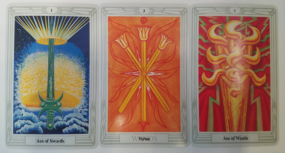 From left to right: Ace of Swords; 3 of Wands; Ace of Wands
