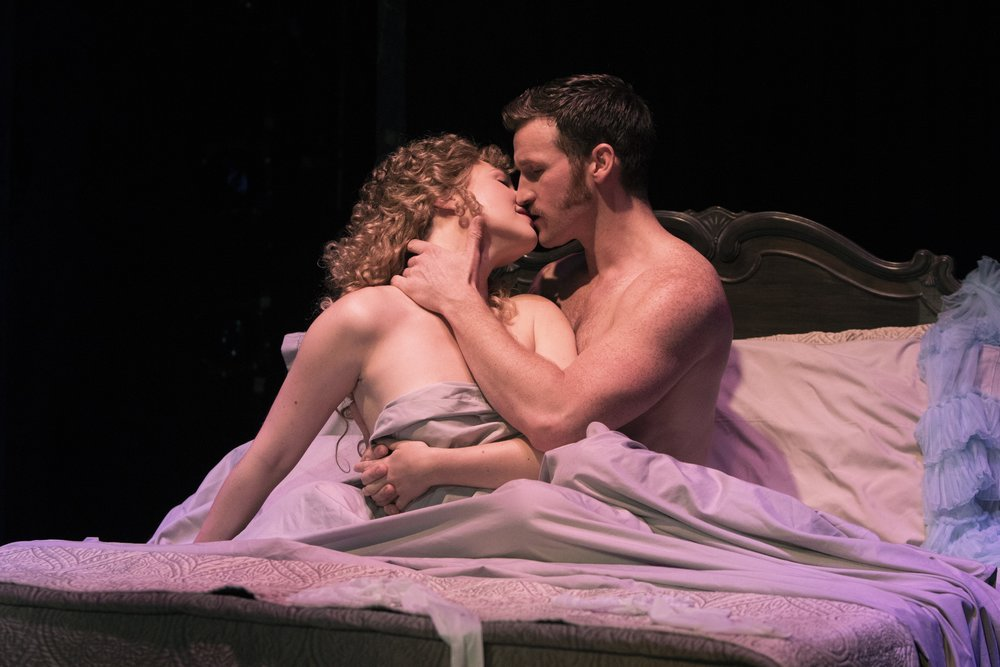 Steffanie Leigh (Clara) and Claybourne Elder (Giorgio) in  Passion  at Signature Theatre. Photo by Christopher Mueller.