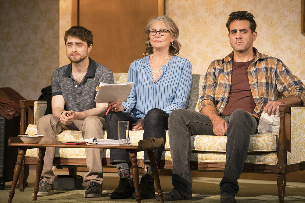 Daniel Radcliffe, Cherry Jones, and Bobby Cannavale. Photo Credit: Peter Cunningham.