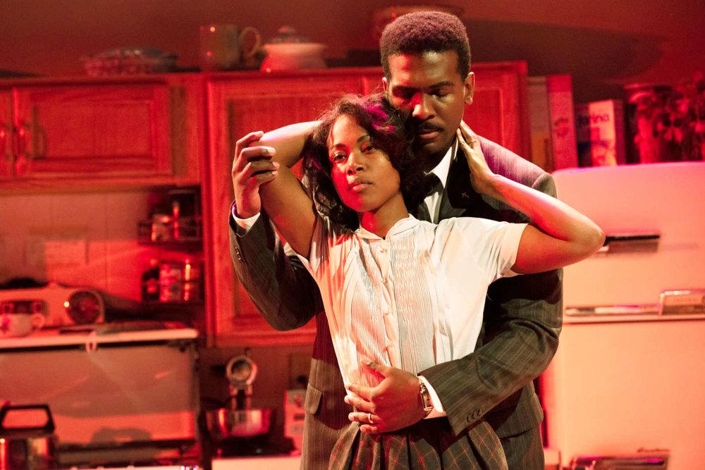 "Dewanda Wise and Khris Davis in ""Fireflies"". Photo Credit: Ahron R. Foster"