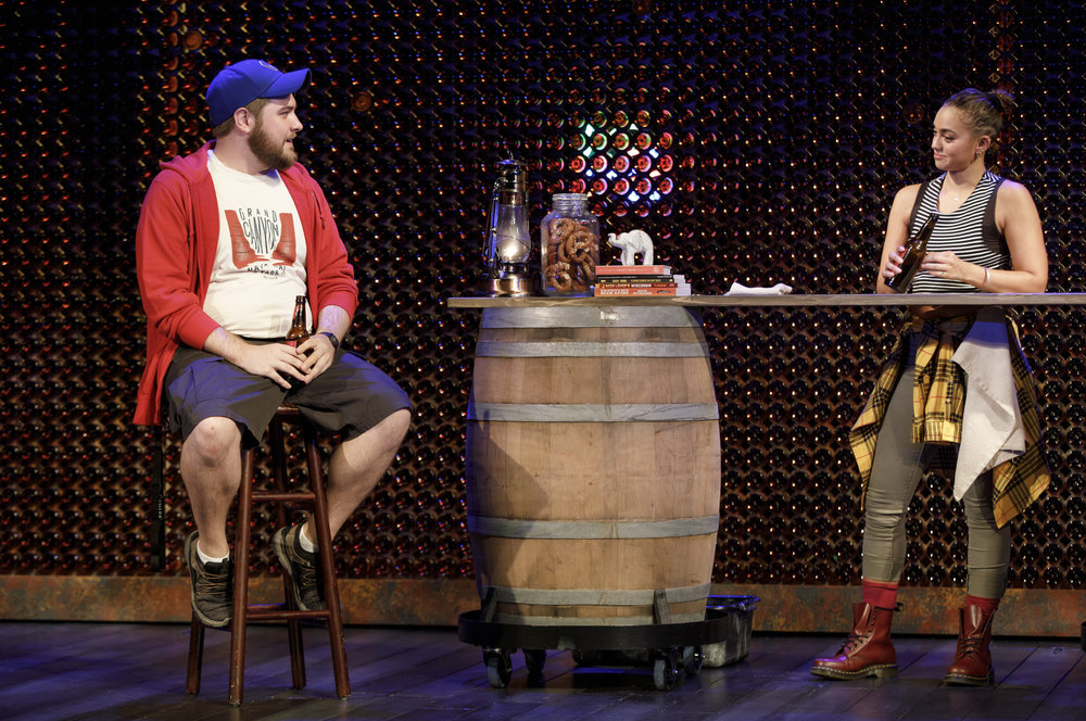 "Nate Miller and Shazi Raja in ""India Pale Ale"". Photo Credit: Joan Marcus."