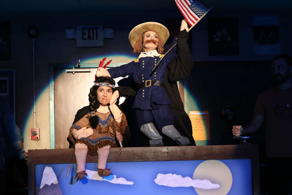 "Jennifer Bareilles and Margo Seibert in ""The Thanksgiving Play"". Photo Credit: Joan Marcus."