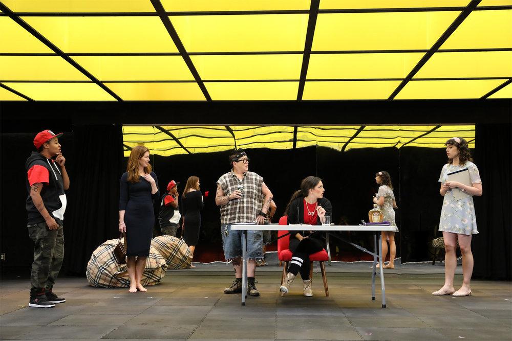 "Chaunté Wayans, Dana Delany, Lea DeLaria, Ana Villafañe, and Adina Verson in ""Collective Rage: A Play in 5 Betties"". Photo Credit: Joan Marcus"
