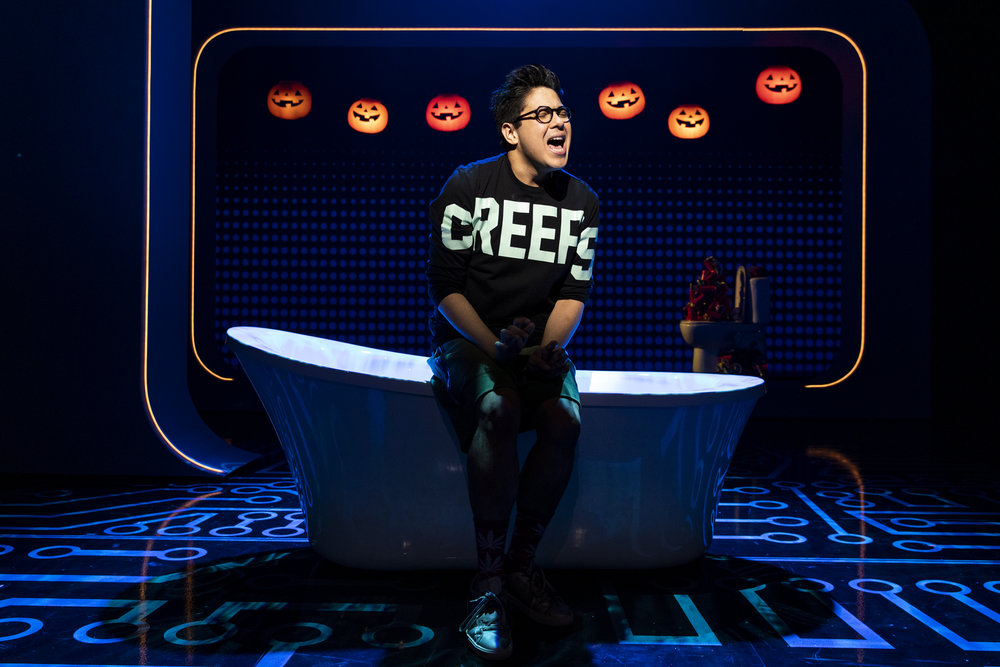 """George Salazar performs the knockout """"Michael in the Bathroom"""". Photo Credit: Maria Baranova."""