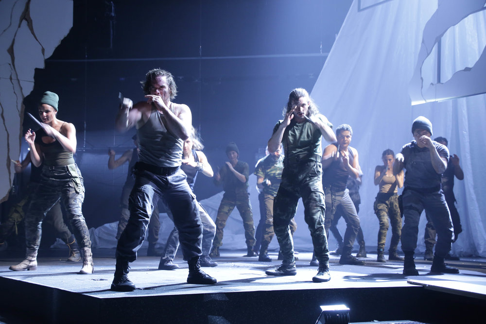 """The Company of """"The Tragedy of Julius Caesar"""". Photo Credit: Gerry Goodstein"""