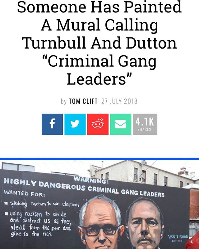 THIS! 🙌🏼 . I'm sure this mural will have disappeared by tomorrow. . #melbournemural #therealgangleaders #highlycriminalgangleaders #racisminmelbourne #racisminaustralia #racism #blacklivesmatter