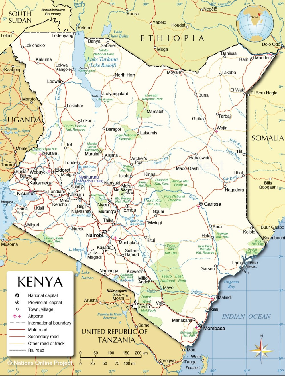 Kenya - click on map for larger version.