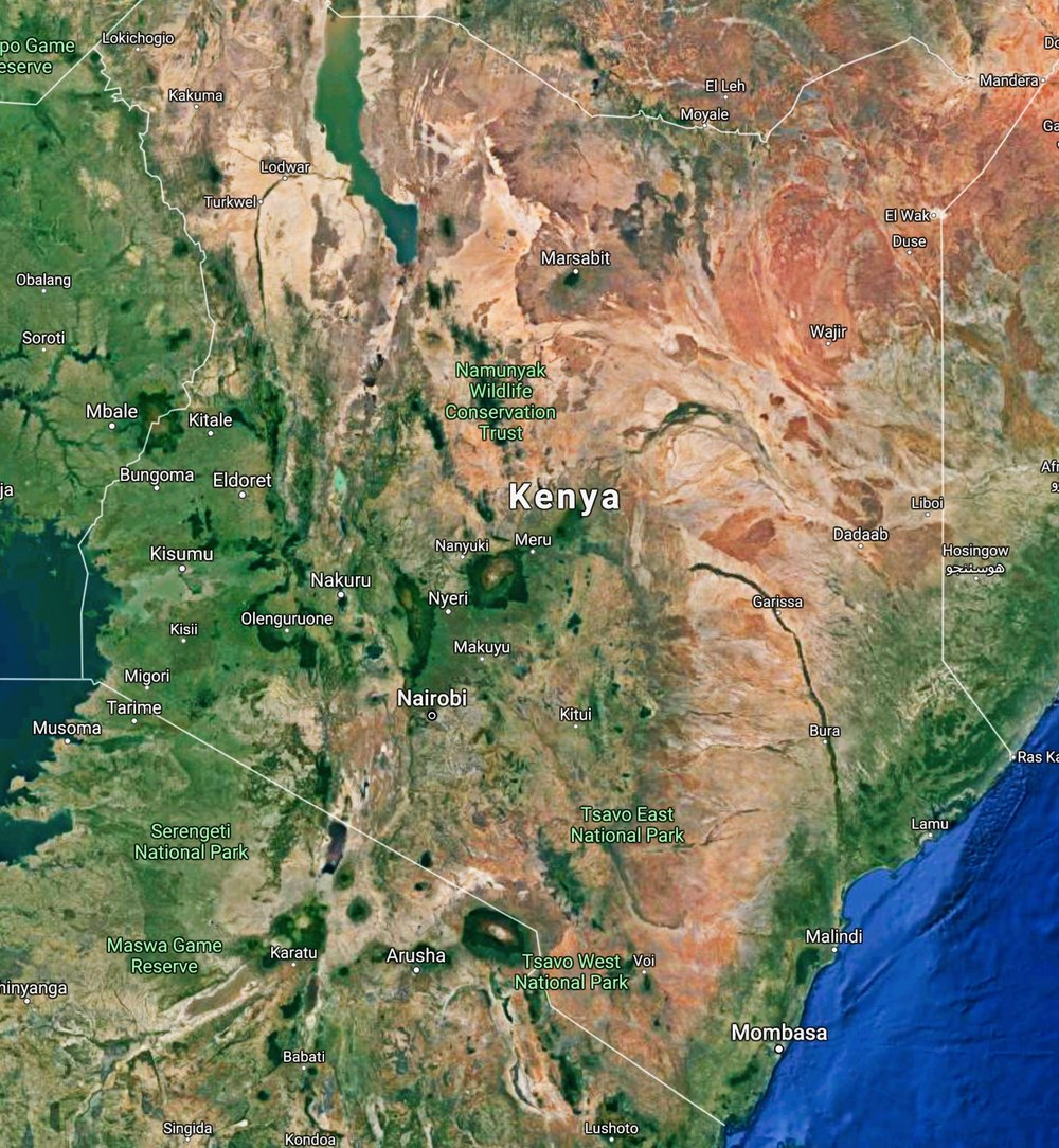 Kenya satellite view - click on map for larger version.