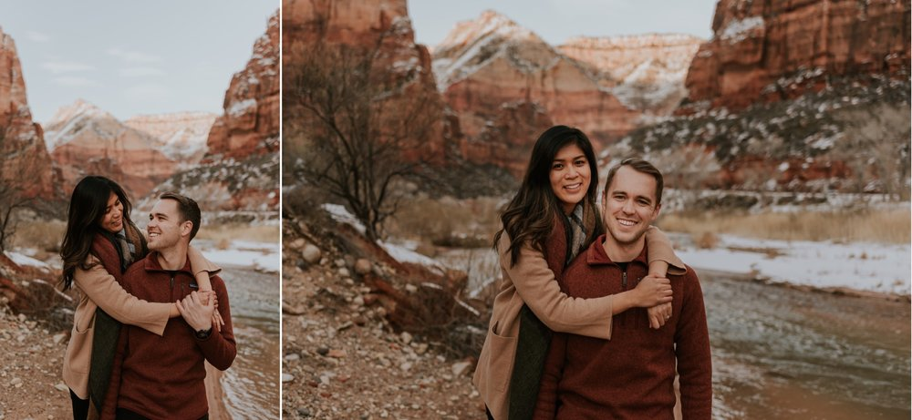 Snowy Zion National Park Adventurous Engagement Session by Carrie Rogers Photography