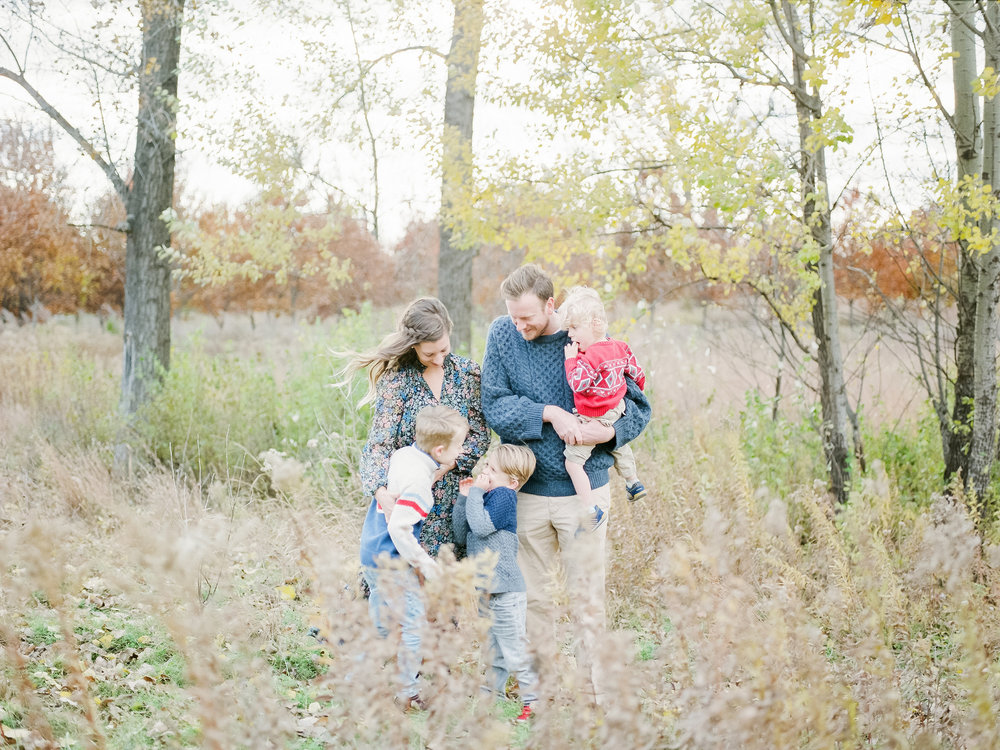 For my own family's photos I chose a color palette of blues, grays, and pops of red. (Image by  Ally Wasmund )