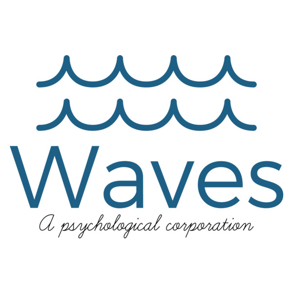 Waves, A Psychological Corporation' s logo consisting of two stacked blue wave drawings over the words, Waves, A Psychological Corporation