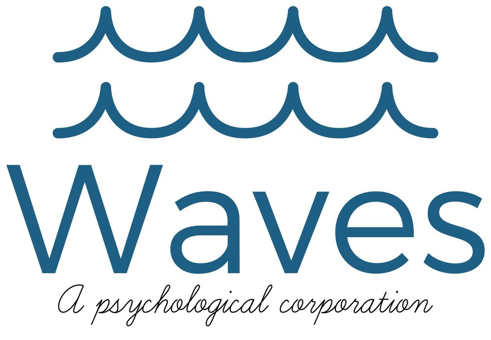Picture of the logo of Waves, A Psychological Corporation which are two, blue, lines of ocean waves over the capitalized word, Waves and underneath, are the capitalized first word, a, followed by psychological corporation.  www.wavespsych.com
