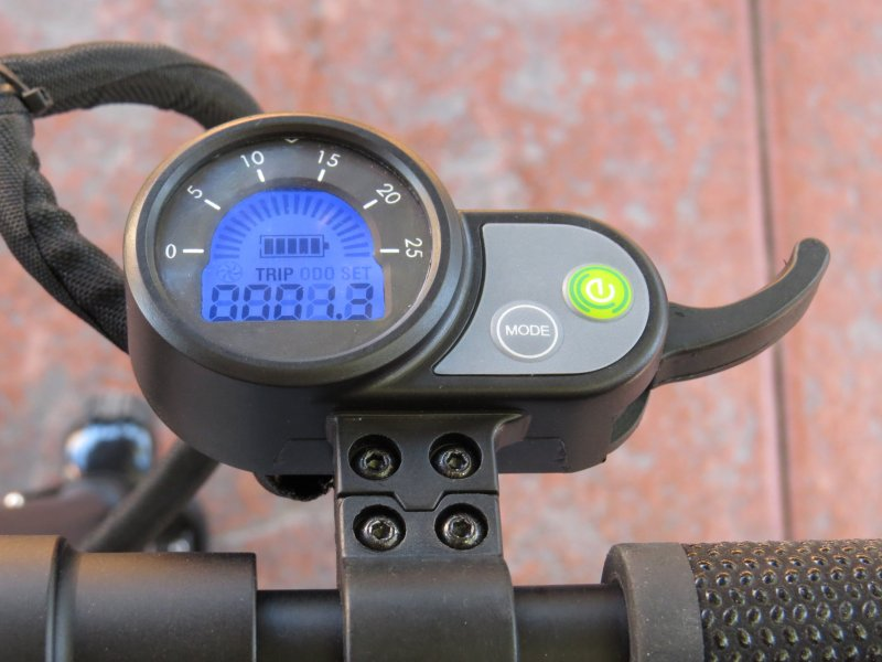 Finger Throttle - This type with build-in LCD and on/off switch is found on many Speedway type of e-scooter models. Simply operate it with your index finger. Works ok for most but more seasoned riders will change it out for the hybrid type (see below) at some point for added comfort. There are a number of cases where the internal spring dislodged or the throttle lever breaking off completely.