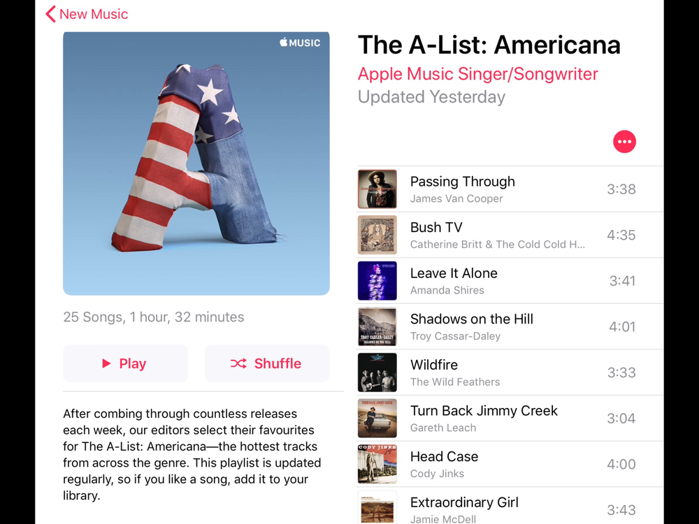 "Number 1 on iTunes '""The A-List: Americana"" Playlist"