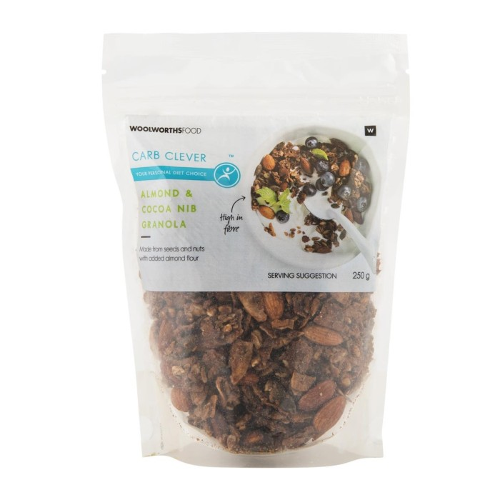 http://www.woolworths.co.za/store/prod/Food/Food-Cupboard/Breakfast-Cereals-Bars/Muesli-Granola/Carb-Clever-Almond-Cocoa-Nib-Granola-250g/_/A-6009195373689