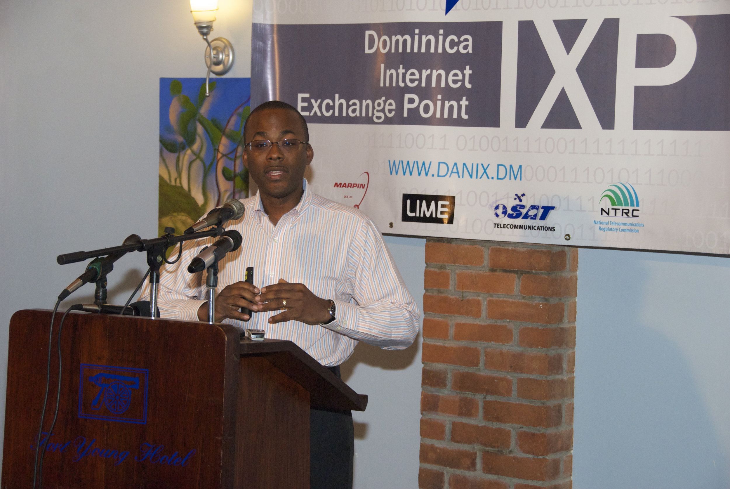 Bevil Wooding, Internet Strategist, Packet Clearing House delivers feature address at DANIX launch, February 2013.