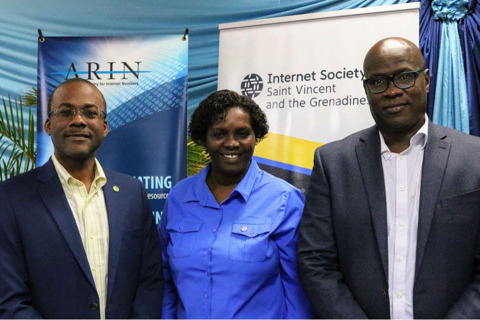 Bevil Wooding, Caribbean Outreach Liaison, American Registry for Internet Numbers; Roxanne John, acting Senior Projects Officer, Ministry of Finance, Economic Planning, Sustainable Development and Information Technology, St. Vincent; and Shernon Osepa, Manager, Regional Affairs for Latin America and The Caribbean Bureau, The Internet Society, at the at the Second St Vincent and the Grenadines Cybersecurity Symposium, held in Kingstown, St Vincent on December 12, 2018.