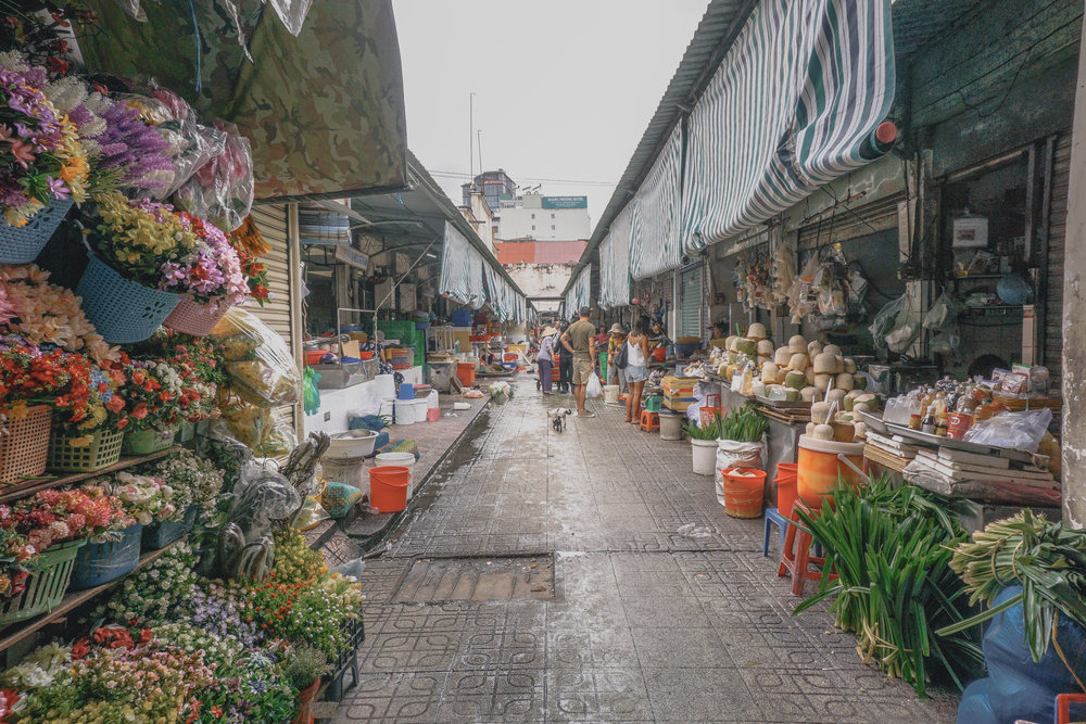 Ho Chi Minh alley with local market