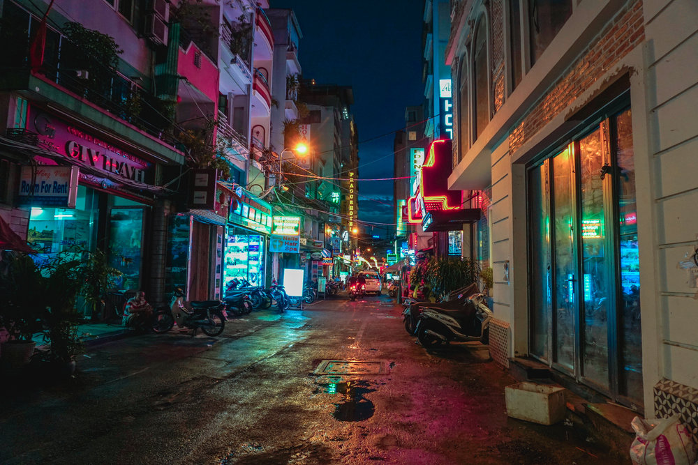 Ho Chi Minh alley at night