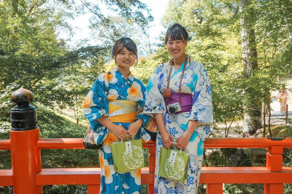 Women dressed in traditional Kimono's at Fushimi Inari Shrine, Kyoto