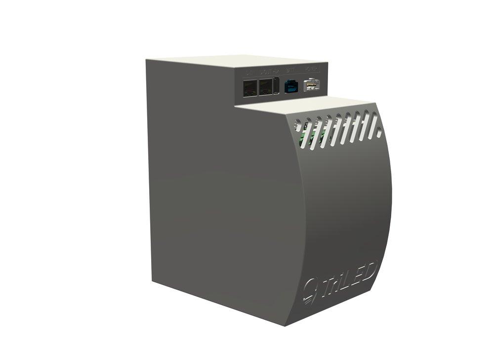 Alimentation - L'un des grands avantages du système d'éclairage TriLED est qu'il tire son énergie d'une alimentation centrale montée au bout du ContiRAIL. Ainsi, une seule alimentation 48 VDC transmet de l'énergie à plusieurs luminaires grâce au rail.Il existe deux modèles d'alimentation : 480W et 960W.