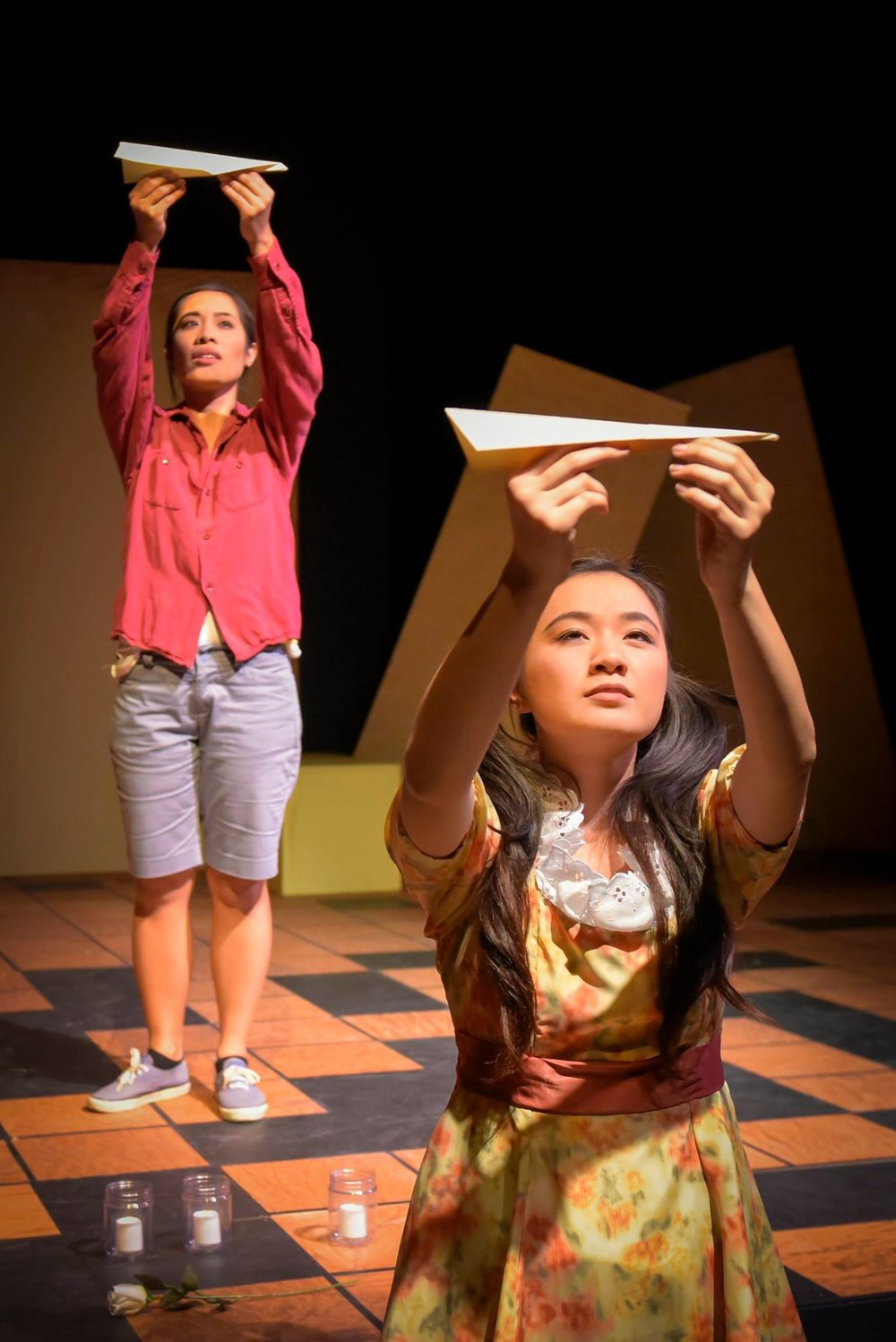 Back: Aureen Almario. Front: Alyssa So. Photo from Chasing Papeles 2016 production, UC Berkeley Performing Arts. Photo courtesy of Alessandra Mello.