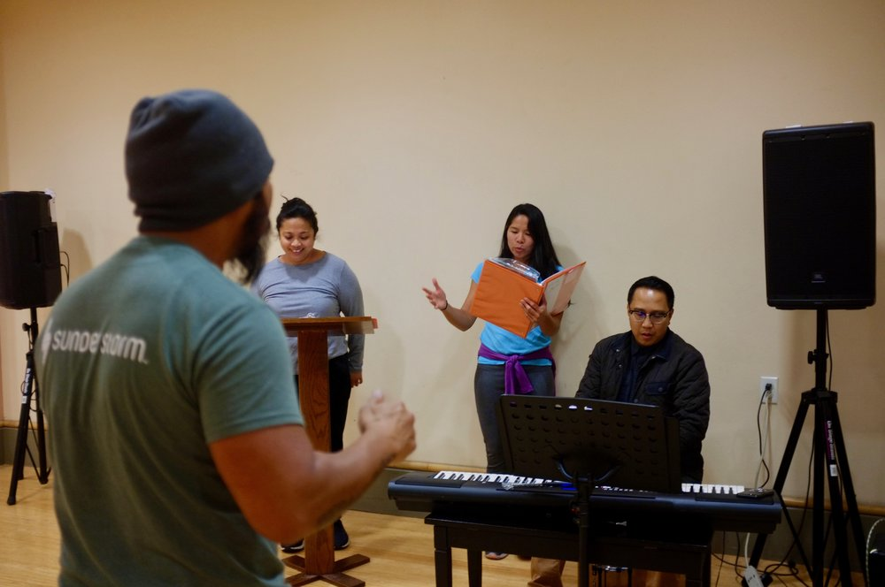 Left to Right: Giancarlo Cariola, Lindsay Ordesta, Andrea Almario, and James Dumlao in Chasing Papeles Rehearsal