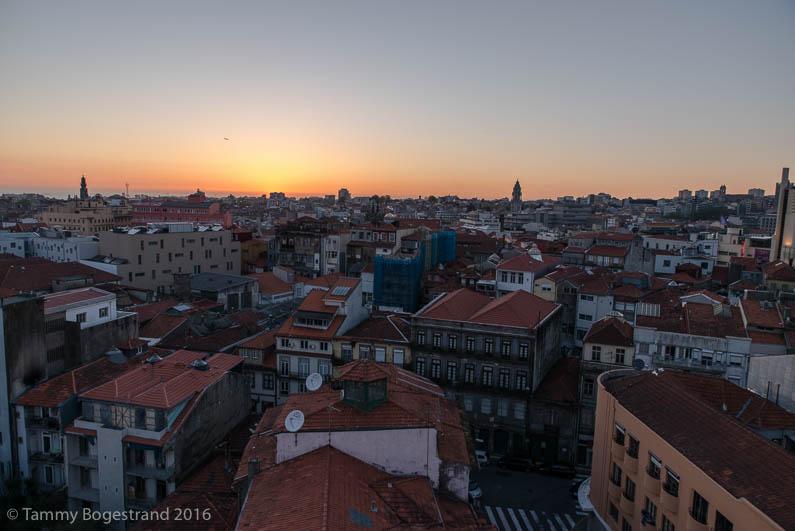 Porto at sunset from the PortoBello Restaurant & Bar