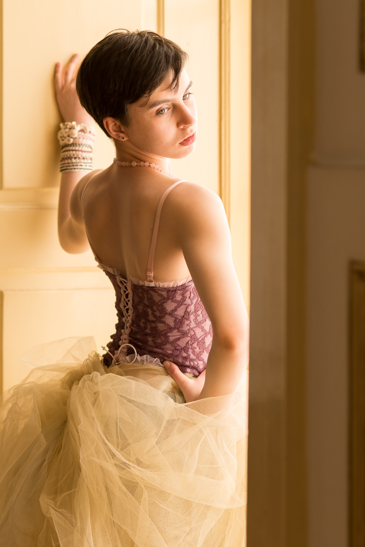 ballet dancer in window light