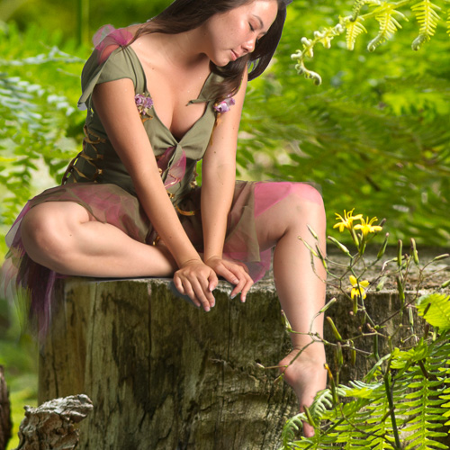 - Jeg fritlagde billedet af feen, så det var nemmere at sætte ind i mit billede i Photoshop. Feen skulle se naturlig ud på baggrunden. F.eks. blomster og blade som burde være foran hendes fødder, skulle være synlige. Mere fritlægning! Men, næsten vigtigere, pigen skulle vendes om, så det så ud, som lyset falder på hende fra den rigtige retning.