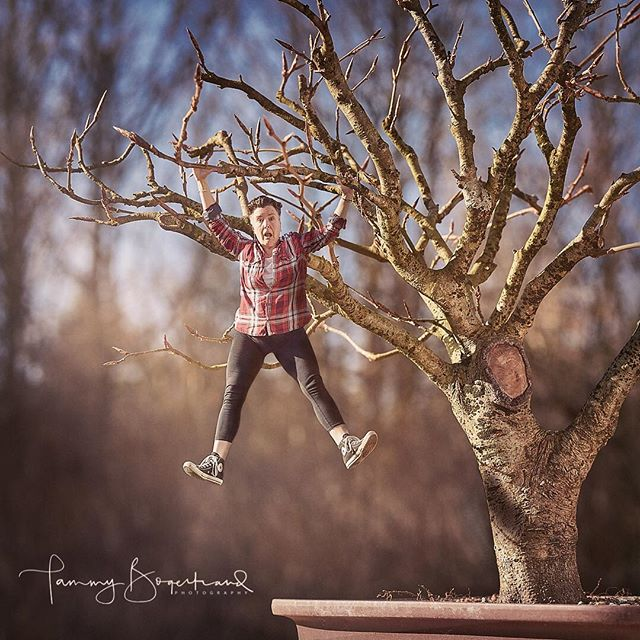 I think this will be the last Mini-me for a while. This one was made at the request of my youngest son, Sebastian. He wanted me to be dangling by my hands from one of Søren's bonsai trees. 👉 Well. Ok, then. 👍 . . #the52collective #tabletopphotography #feelingsmall #bonsaitree #downsized #smallworld #bonsailife #theartofgoingslow